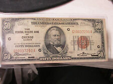 1929 $50 National Currency Chicago Federal Reserve Low Number Brown Seal