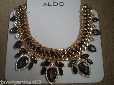 """ALDO GOLD TONE STATEMENT NECKLACE with BLACK, GRAY  & CLEAR """"STONES"""""""