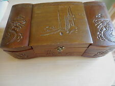 VINTAGE CHINESE CARVED DRAGONS WOODEN JEWELLERY BOX ON LEGS LARGE WITH DRAWER