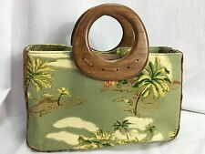 Fossil Green Palm Tree Print W Brown Straw and Wood Handles Purse
