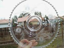 """Imperial Glass CANDLEWICK CLEAR 12½"""" Cupped Edge Torte Plate 400/75V Cornflower"""