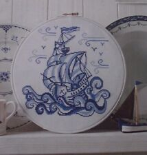 LIFE ON THE OCEAN WAVE GALLEON STYLE SHIP IN 3 SHADES OF BLUE CROSS STITCH CHART