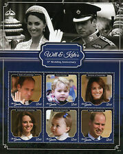 Gambia 2016 MNH Prince William & Kate 5th Wedding Anniv 6v M/S Royalty Stamps