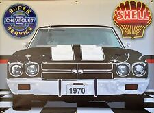 1970 CHEVY CHEVELLE SS RETRO STYLE GARAGE SCENE BANNER SIGN GARAGE ART 4' X 3'