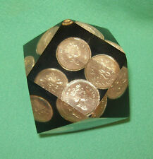 1998 Acrylic Lucite CANADIAN  CANADA  PENNY pennies PAPERWEIGHT