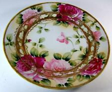 Antique Nippon Hand Painted Roses w/ Heavy Gold & Beading Cabinet Display Plate