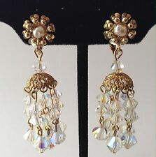 SPECTACULAR VINTAGE MIRIAM HASKELL SIGNED DANGLING CRYSTAL GLASS BEAD EARRINGS