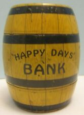 Antique Tin Litho Toy Happy Days Barrel Bank w Locking Trap J Chein Co 1930s