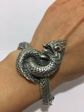 New Beautiful 925 Sterling Silve Thai Dragon Bangle Bracelet + Free Shipping