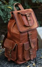New Genuine Leather Back Pack Rucksack Travel Bag For Men's and Women's