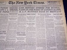1940 SEPTEMBER 29 NEW YORK TIMES - NAZIS 4TH WEEK OF LONDON RAIDS - NT 2946