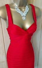 Women's JANE NORMAN Red knot bust textured wave bodycon DRESS UK 14 ( US 10 )