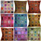 "Cushion Covers 16x16"" 40cm Indian Heavy Embroidery Sari Patchwork Square Stripes"