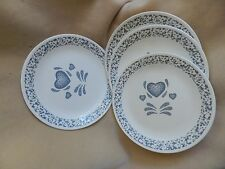 Lot of 4 Corelle Corning Ware BLUE HEARTS Dinner Plates EXCELLENT