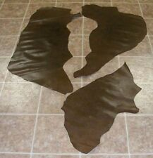 (KHE3552-1) Lot of 3 Brown Fine Snake Skin Print Cow Pieces Leather Hide Skin