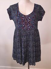 Free People Anthropologie Womens Shirt Tunic XS Extra Small Top Short Sleeve