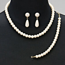 Gold and Cream Classic Faux Pearl 3 Piece FASHION Jewelry Set