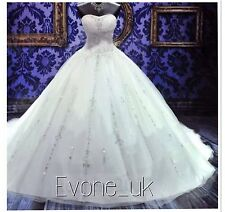 UK Beaded White/Ivory Wedding Dress Bridal  Gown Size 6-18