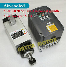 【US Ship】 Square 3KW Air Cooled Spindle Motor ER20+2.2KW VFD 220V for CNC Router