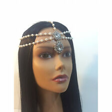 Diamante Pearl Kundan Stone Goddess Head Chain Hair Jewelry Grecian Bridal Boho