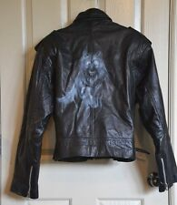 Black Leather Jacket WOLF airbrushed art back Nicole Sarhardy Collection