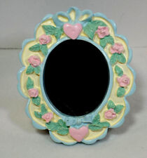 Small Ceramic Picture Frame with Blue Ribbon and Pink Roses and Hearts