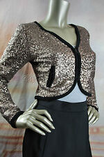 New MINK PINK Gold Metallic Sequin Black Trim Crop Jacket Small