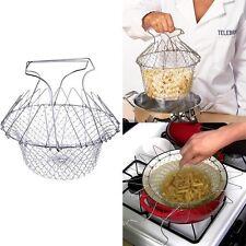 Edelstahl Abtropfsieb Nudelsieb Küchensieb Faltbar Kochen Braten Seiher Netz