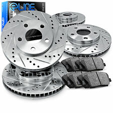 """Brake Rotors FRONT+REAR KIT ELINE """"DRILLED AND SLOTTED"""" & CERAMIC PADS RA32240"""