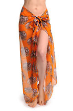 Skulls With Flowers On Orange Unisex Scarf and Beach Sarong (SF000955)