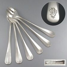 "Antique French Christofle ""Fidelio"" Silver Plated Oyster Forks, Monogrammed P.V."
