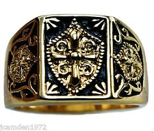 Knight's Templar Crest and Shield Mens ring 18K gold overlay Size 8