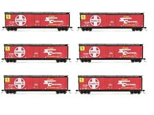 Rivarossi Santa Fe Railroad Plug Door Box Car HO Scale Train Car - Set Of 6 Cars