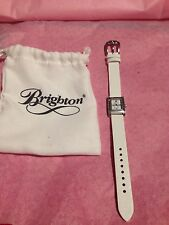 Brighton Jefferson White Leather Silver Watch New With Pouch