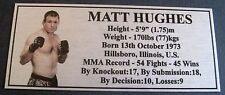 "MMA MATT HUGHES Champion Silver Photo Plaque ""FREE POSTAGE"""