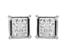 10K White Gold Invisible Princess Real Diamond Square Stud Earrings 7MM 0.33ct