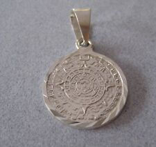 Taxco Mexican 950 Sterling Silver Shiny AZTEC SUN CALENDAR Small Pendant Mayan