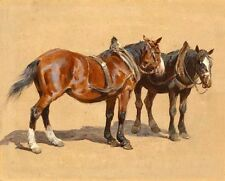 Hand painted oil painting beautiful animal two horses standing in field canvas