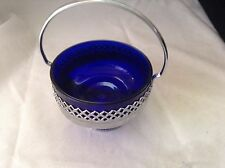 Vintage Round Silver Tone Basket with Cobalt Blue Glass Liner Candy Dish