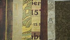 """9 SHEETS 12 x 12"""" PAPER VARIETY IN BROWN / GOLD / BEIGE Old Maps Book Pages Wood"""