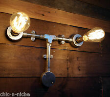 Industrial wall pipe lampe rétro light steampunk vintage murale appliques métal twin