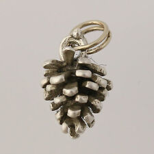 Little Pine Cone Charm - Sterling Silver 925 Nature Plant Jewelry Women's