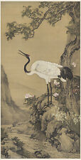 Chinese antique painting on silk Crane Osmanthus by Shen Quan in Qing dynasty