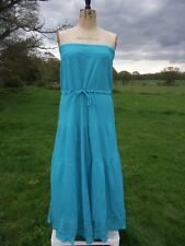 Pretty SOUTH Turquoise Cotton Cheesecloth Maxi Dress Size 16 BNWT
