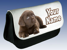 CHOCOLATE LABRADOR PERSONALISED LADIES / GIRLS KIDS MAKE UP BAG /PENCIL CASE /DS