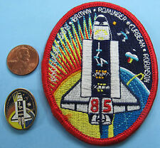 NASA PATCH & PIN PAIR vtg Space Shuttle DISCOVERY STS-85 Rominger Brown