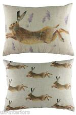 "17"" x 13"" Leaping Hare Wrap Repeat Cushion - Evans Lichfield Rural DP327 Rabbit"