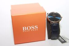 Hugo Boss Men's Jackson Blue Leather Strap Watch 1513371 NEW IN BOX!!