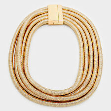 "18"" gold 5 strand multi row coil stack choker collar necklace bib replica"