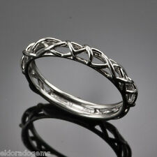 HEARTS ON FIRE  18K WHITE GOLD BROCADE FILIGREE WEDDING BAND RING SIZE 6
